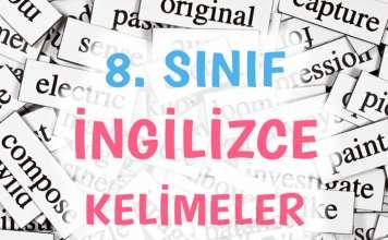 8. sınıf ingilizce kelimeler