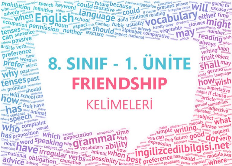 8. Sınıf İngilizce 1. Ünite Friendship Kelimeleri