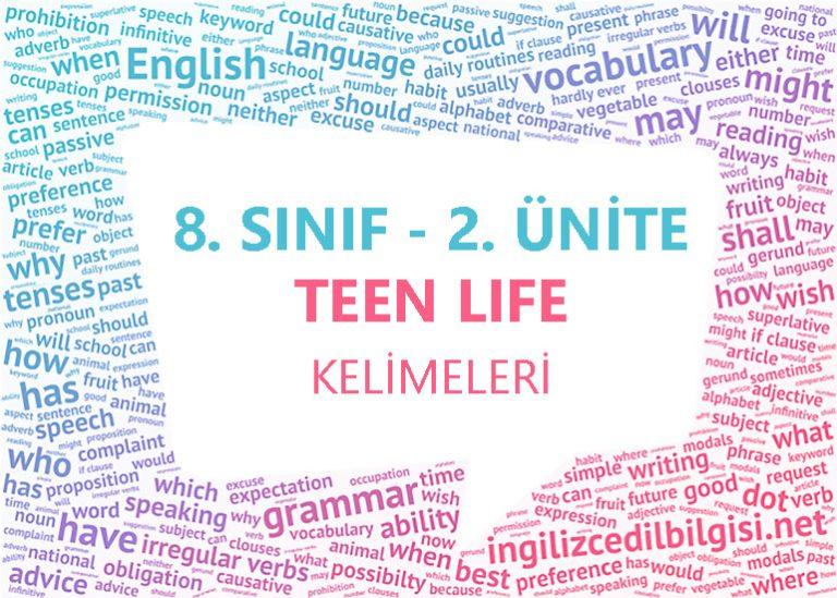 8. Sınıf İngilizce 2. Ünite Teen Life Kelimeleri