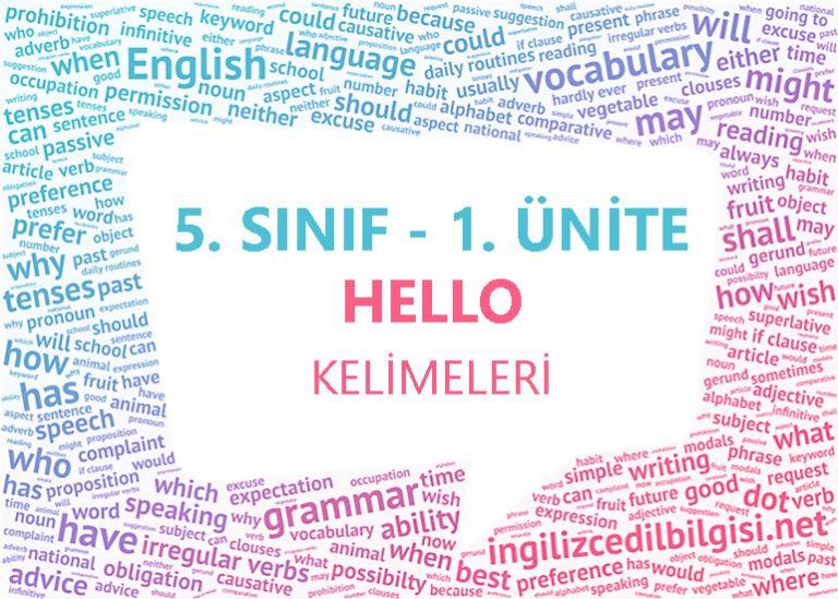5. Sınıf İngilizce 1. Ünite Hello Kelimeleri