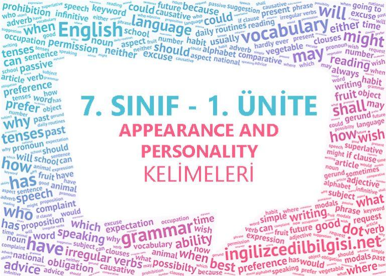 7. Sınıf İngilizce 1. Ünite Appearance and Personality Kelimeleri