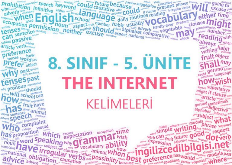 8. Sınıf İngilizce 5. Ünite The Internet Kelimeleri