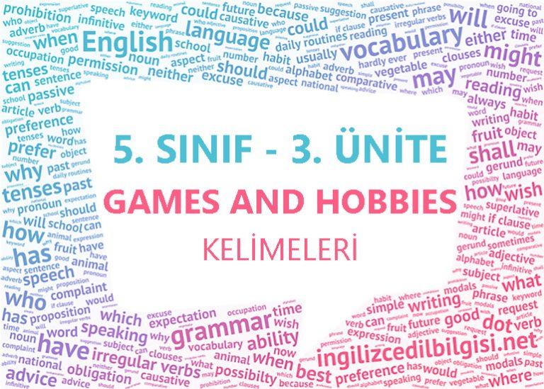 5. Sınıf İngilizce 3. Ünite Games And Hobbies Kelimeleri
