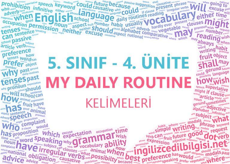 5. Sınıf İngilizce 4. Ünite My Daily Routine Kelimeleri