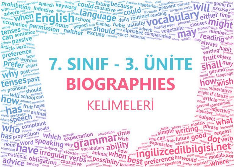 7. Sınıf İngilizce 3. Ünite Biographies Kelimeleri
