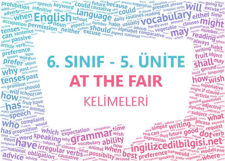 6. Sınıf İngilizce 5. Ünite At The Fair Kelimeleri