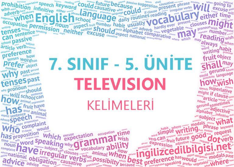 7. Sınıf İngilizce 5. Ünite Television Kelimeleri