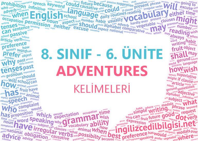 8. Sınıf İngilizce 6. Ünite Adventures Kelimeleri