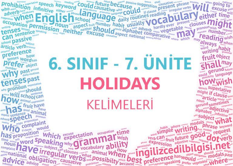 6. Sınıf İngilizce 7. Ünite Holidays Kelimeleri