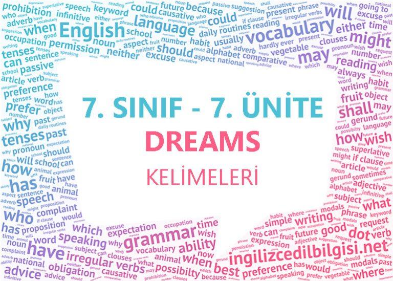 7. Sınıf İngilizce 7. Ünite Dreams Kelimeleri