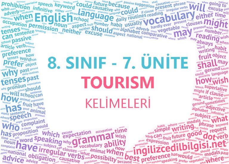 8. Sınıf İngilizce 7. Ünite Tourism Kelimeleri