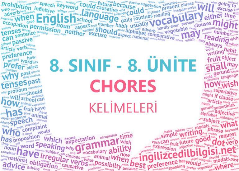 8. Sınıf İngilizce 8. Ünite Chores Kelimeleri