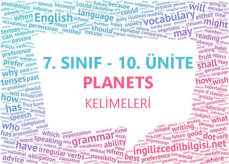7. Sınıf İngilizce 10. Ünite Planets Kelimeleri