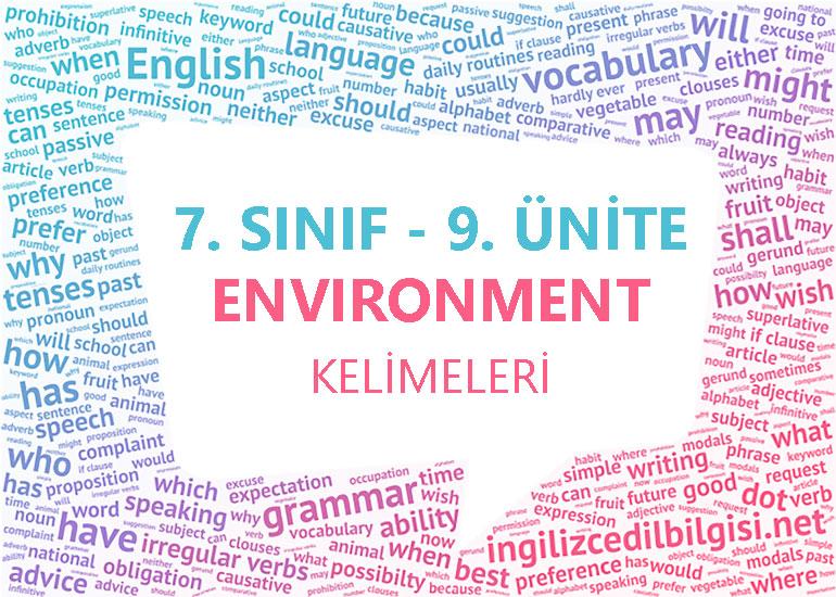 7. Sınıf İngilizce 9. Ünite Kelimeleri - Environment Kelime Listesi